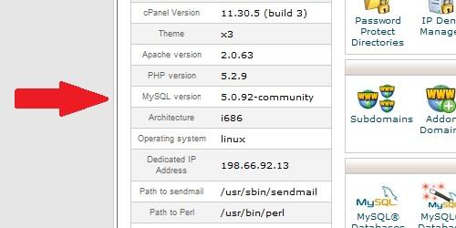 cPanel MySQL Version